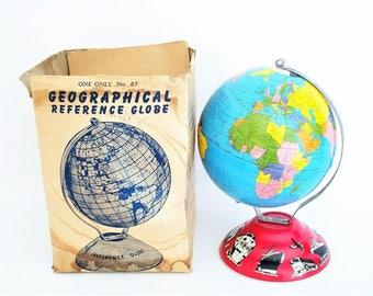 Vintage 1940s Tin Litho World Globe - Transportation Base - Ohio Art - Original Box