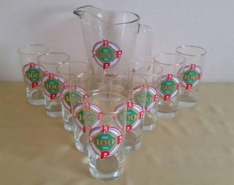 Matching 10 Piece Set of Pitcher and Drinking Glasses Philadelphia Phillies Baseball 100 Years 1883 - 1983 Beer Glass Roy Rogers Promotion
