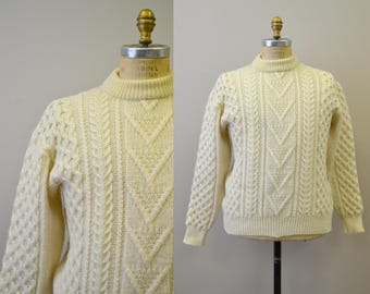 1970s Scottish Wool Cream Cable Knit Fisherman's Sweater