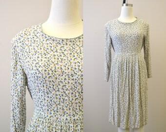 1980s Crinkle Floral Dress
