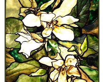 GREAT SALE Digital DOWNLOAD Louis Comfort Tiffany's Magnolia Blossom detail Counted Cross Stitch Chart / Pattern
