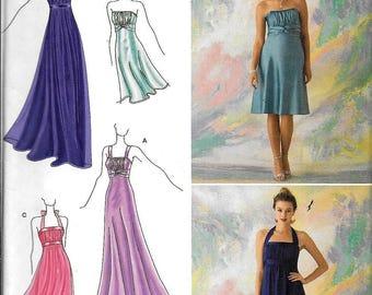 Simplicity 2398 McClintock Halter Empire Waist Evening Dress Gown Sewing Pattern UNCUT Size 12, 14, 16, 18, 20