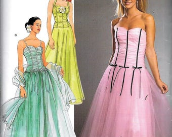 Simplicity 4686/ 0547 Jessica McClintock Lovely Prom Gowns Evening Dress Sewing Pattern Size 4, 6, 8, 10