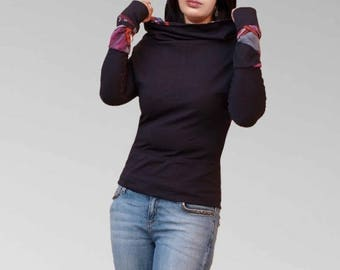 Cowl neck sweater, T shirt in black sleeved extra long