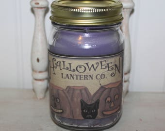 New WILDBERRY MOUSSE Scented Handmade Primitive Purple Halloween Lantern Co. Canning Jar Candle -HIGHLY Scented - Pumpkins and Black Cat