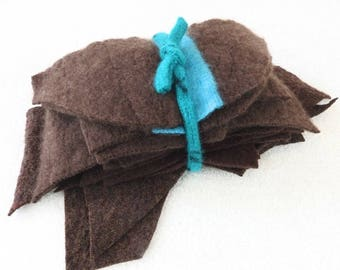 Wool Scraps BROWN Felted Sweater Wool and Cashmere Scrap Pack Fabric Pieces Craft Supplies Sewing Destash Needle Felting Patchwork WormeWool