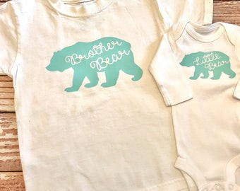 Brither Bear Shirt- Little Bear  Shirt- Big Sister Announcement- Coming Home Outfit- New Baby- Sibling Outfits- Matching Sister Outfits