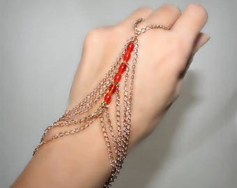 Ring bracelet with red agate and gold chain (m1o)
