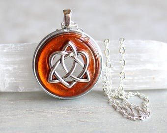 orange celtic sister knot necklace, celtic heart, triquetra necklace, anniversary gift, unique gift, irish jewelry, celtic jewelry