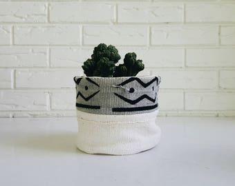 Gray Mudcloth Plant Cover - Planter Fabric - Modern Bohemian Decor