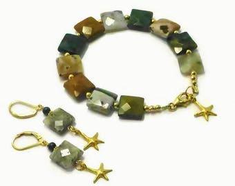 Ocean Jasper Bracelet Set, Beach Jewelry, Ocean Jasper Earrings, Ocean Jasper Bracelet, Green Stone Bracelet, Summer Jewelry, Fall Jewelry