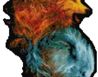 Fire And Ice Wolves Cross Stitch Pattern