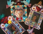 Mexican folk art Frida Kahlo tin metal nicho shrine shadowbox with sacred heart and flowers and bird