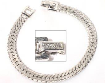 Monet Silver Herringbone Bracelet, Chain Bracelet, Designer Jewelry, Vintage Jewelry