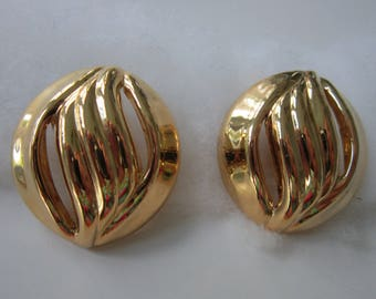 Large Gold Clip Earrings Oval Vintage Bright Gold Tone Vintage Excellent
