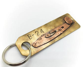 B-24 hand made world war II aircraft keychain