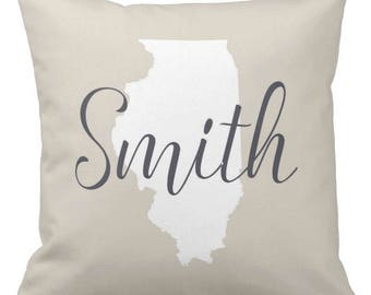 Home State Decorative Throw Pillow, Personalized Pillow, Home Sweet Home Family Pillow, Keepsake Pillow, Gift for Couple