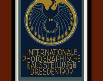 Art Nouveau Poster . 1909 Dresden Photography Exhibition . Vintage Stamp Print . Art Nouveau Bird . Large A2 (60X40 cm) Print