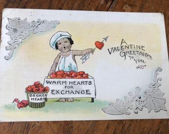 "Adorable Cupid Vintage Valentine's Postcard ""Warm Hearts For Exchange - Broken Hearts"""