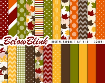 Thanksgiving Digital Paper, Autumn Scrapbook Papers, Thanksgiving Party Decorations - Instant Download - DP451