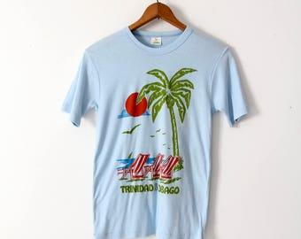 vintage Trinidad & Tobago t-shirt, 80s blue tourist graphic tee