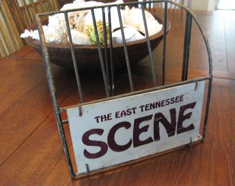 Vintage Salvaged Heavy Metal Newspaper Magazine Store Rack Southern Tennessee Sign Repurpose,  Hold Books Papers Storage Supplies Industrial