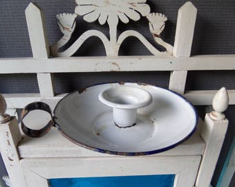 French Enamel Candle Holder rustic French country style