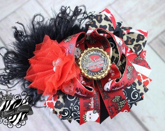 Baby Bows, Toddler Bows, Girls Hair Bows, Boutique Bow, One of a Kind Over the Top Bow, Christmas Hair Bow, Santa Hair Bow, 6 Inch Hair Bow