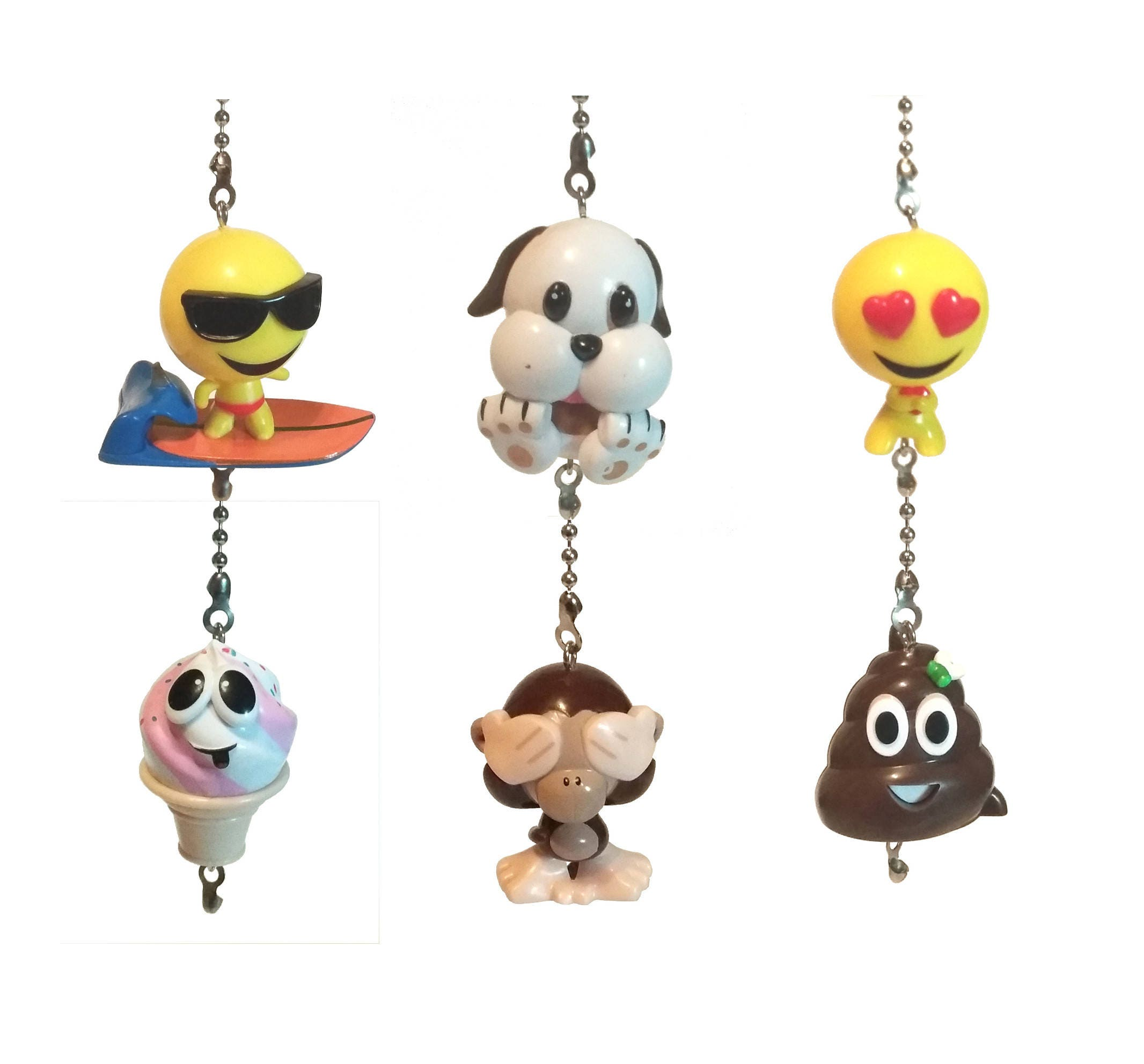 emoji ceiling fan pulls - poo emoji, emoticon decor, gift idea