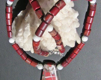 Fossilized Dinosaur Bone Trapezoid w/Red Jasper and White Moonstone Magnetic Necklace