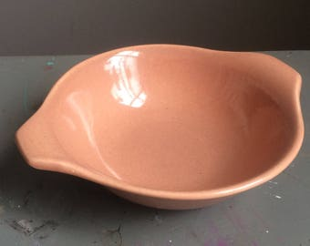 Vintage Russel Wright Double Lugged Bowl by Steubenville USA Coral Mid Century Modern 1940s