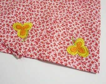 Red Floral Bandana Large Handkerchief Ladies Embroidered Bandana with Flowers