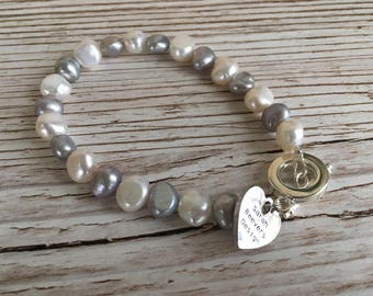 Pearl Bracelet Ivory and Silver Grey Fresh Water Pearls with toggle clasp UK made
