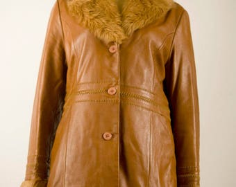 Fur Collar Coat, Genuine Leather Coat,  Brown Leather Coat