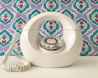 White Donut Phone, Midcentury Telephone, Midcentury Decor, Girls Room Decor