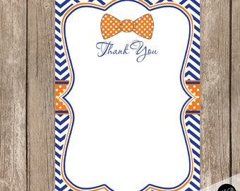 Thank You Note Card - Bow tie Orange and Blue Chevron Baby Shower Printable 4x6 Thank You Note Cards, bowtie-  lm5 INSTANT DOWNLOAD