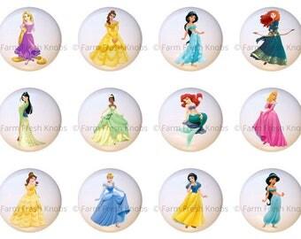 Set Of 12 Disney Princess Princesses Ceramic Drawer Pull Cabinet Knobs