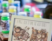"""CUSTOM LISTING Where the Wild Things Are- favor sign """"a magic trick to tame the wild things""""- Print out with labels"""