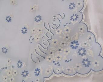 Hankie Lovely Blue Sheer White Flocked Nylon Hankie Monogrammed Mother