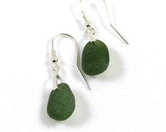 Sea Glass Drop Earrings, Sea Glass Dangle Earrings, Sea Glass Jewelry, Hunter Green Earrings, Sterling Silver Earrings, Ready to Ship  e56