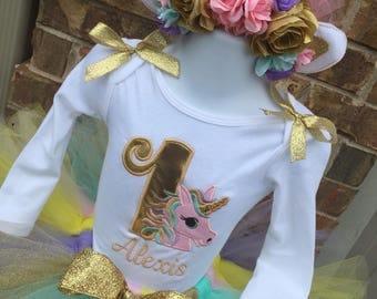 Unicorn 1st Birthday Set - Unicorn Birthday - Unicorn Birthday Set - Unicorn Headband - Unicorn Outfit