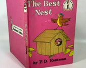 The best nest, birds, dr suess,  1968, Grolier,  P.D. Eastman,  bird book, pink book
