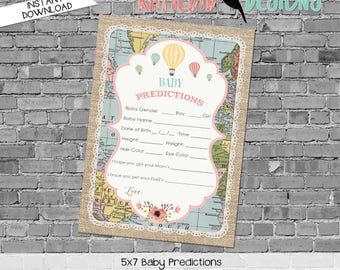 baby shower games printable baby predictions stats 1455 world map hot air balloons digital gender sprinkle rustic chic navy gold mint green