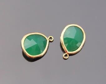 Jewelry Making Supplies, Gold PGO Pendant, Light Green Glass Stone connector,  Gemstone Bead Pendant, 2 pc, JW8227