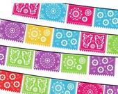 40% OFF SALE Papel Picado Clipart, Digital Fiesta Mexican Banners Clip Art, Cinco de Mayo Clip Art, Printable Papel Picado