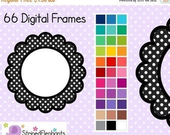 40% OFF SALE Polka Dot Flower Digital Frames 1 - Clip Art Frames - Instant Download - Commercial Use