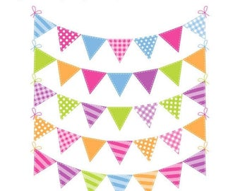 40% OFF SALE Festival Bunting Clip Art - Rainbow Bunting Clipart - Spring Bunting - Commercial Use - Instant Download