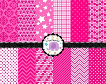 40% OFF SALE Pink Digital Scrapbook Papers, Hot Pink Digital Paper Pack, Pink Digital Background, Instant Delivery, Commercial Use