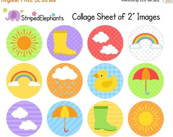40% OFF SALE Weather Digital Collage Sheets - 2 Inch Circle Images - Printable Cupcake Toppers - Instant Download - Commercial Use