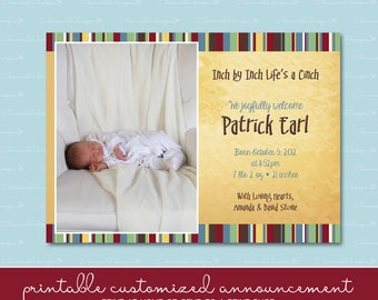 Inch by Inch Birth Announcement with Photo